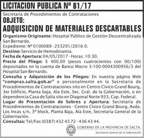 Licitación: Licitacion Publica 81/2017 SGG SB