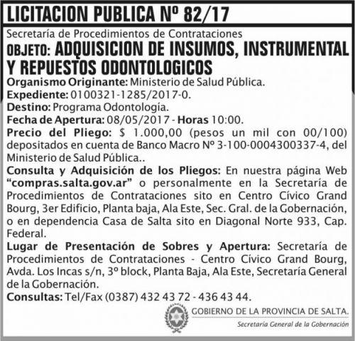 Licitación: Licitacion Publica 82/17 SGG MSP