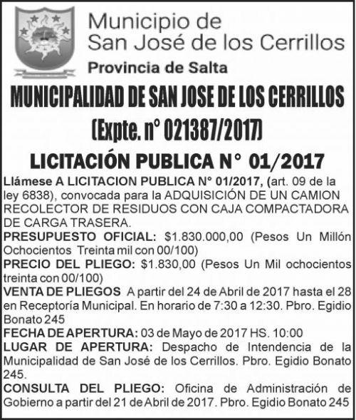 Licitación: LICITACIÓN PÚBLICA 01/2017 MUNICIPALIDAD DE SAN JOSE DE LOS CERRILLOS