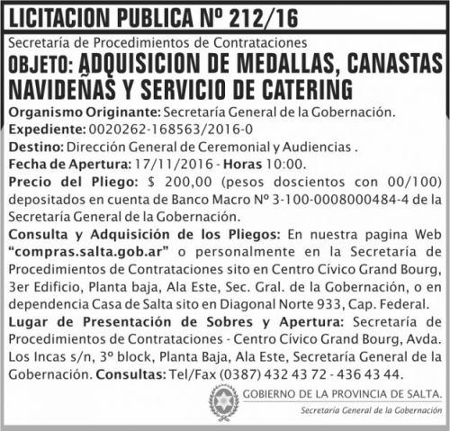 Licitación: Licitación Pública Nº 212/16