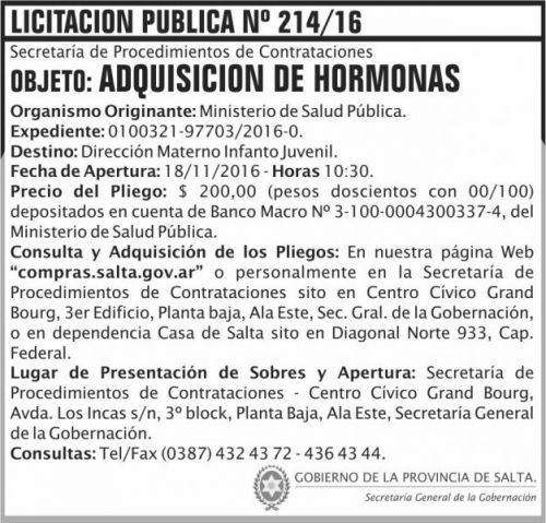 Licitación: Licitación Pública Nº 214/16