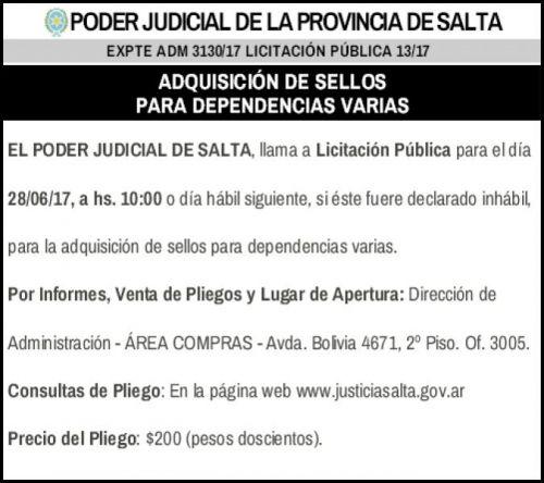 Licitación: Licitación Pública 13/17 - PODER JUDICIAL SALTA  - EXPTE ADM 3130/17