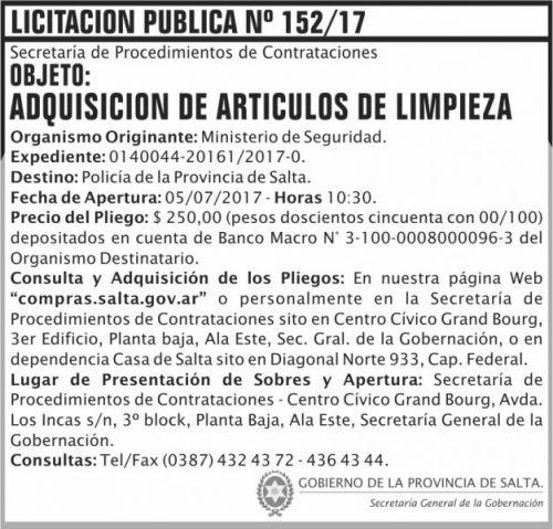 Licitación: Licitacion Publica 152 SGG MS