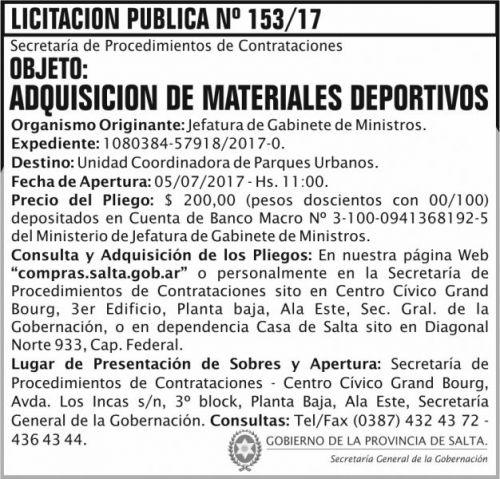 Licitación: Licitacion Publica 153 SGG JGM