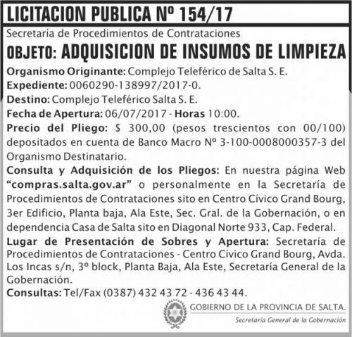 Licitación: Licitacion Publica 154 SGG CTS