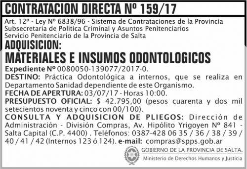 Compra Directa: Contratacion Directa 159 SPPS MDHJ