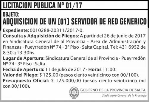 Licitación: Licitacion Publica 01 SGP