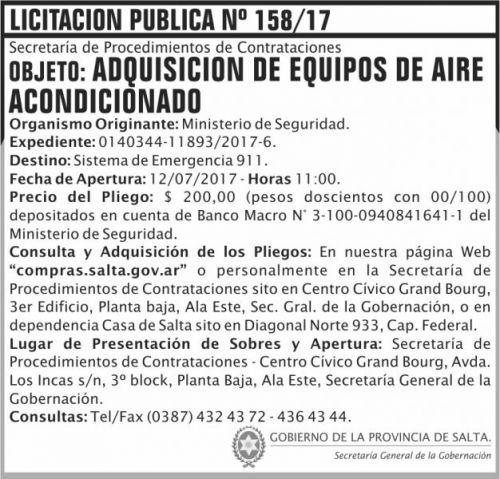 Licitación: Licitacion Publica 158 SGG MS