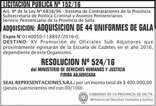 Licitación: Licitación Pública Nº 152/16