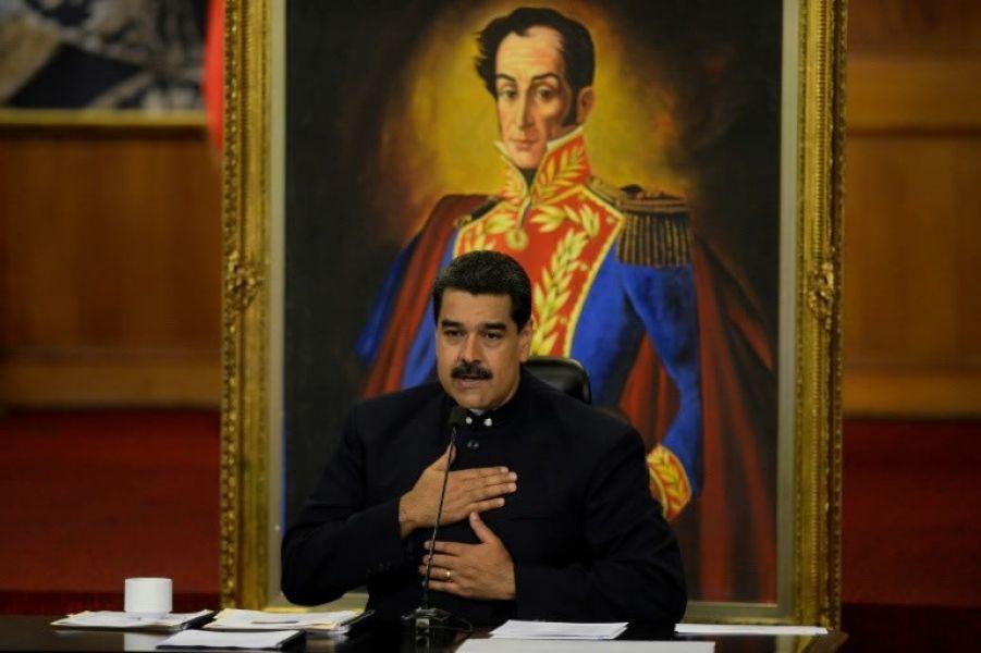 El presidente venezolano, Nicolás Maduro, durante una rueda de prensa con medios internacionales.