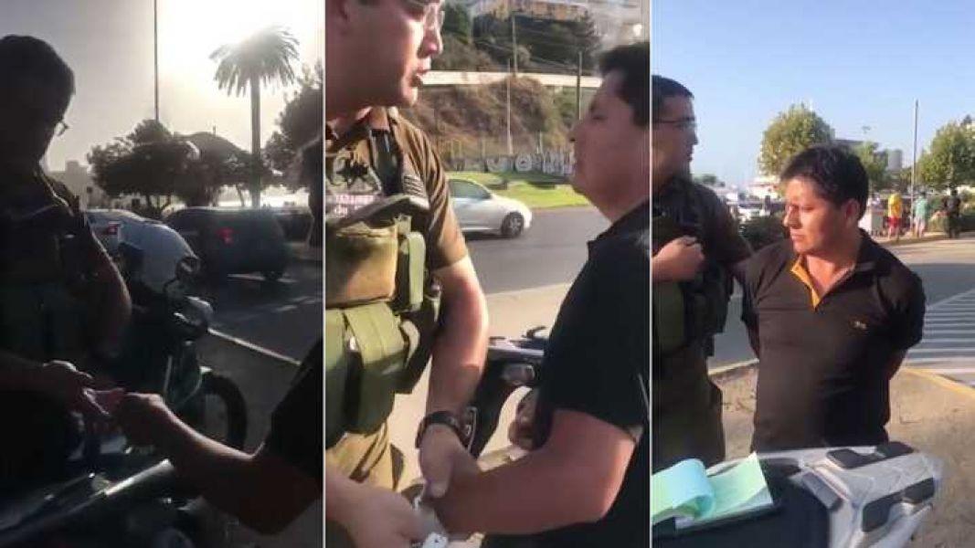 """""""Esto en Chile es delito"""", dijo el carabinero que lo detuvo por intento de soborno. (Foto Infobae)."""