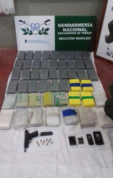 En Orán Gendarmería secuestró 50 kg. y en Tartagal con más de 20 kilos de cocaína.