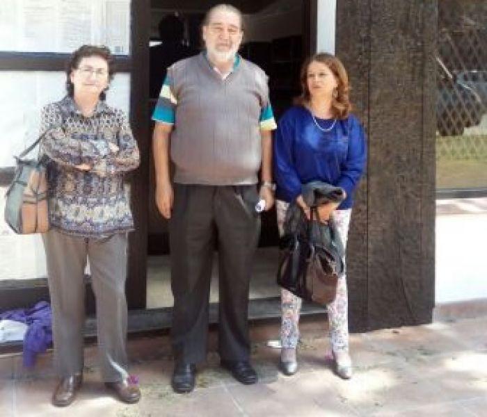 Nora Leonard, David Leiva y Cristina Cobos, luego de la presentación.