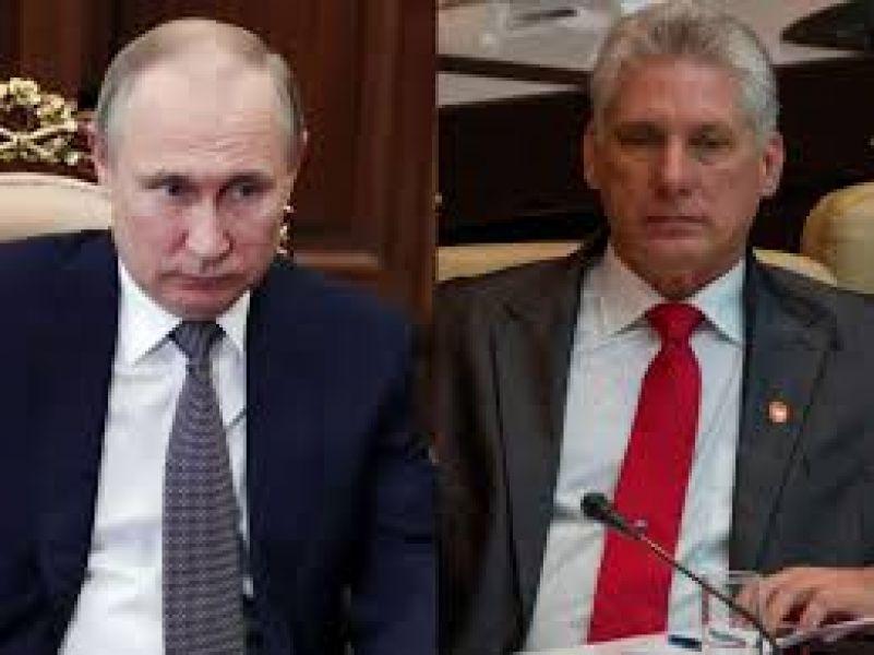 El presidente de Rusia Vladimir Putin y el presidente de Cuba Miguel Díaz-Canel.