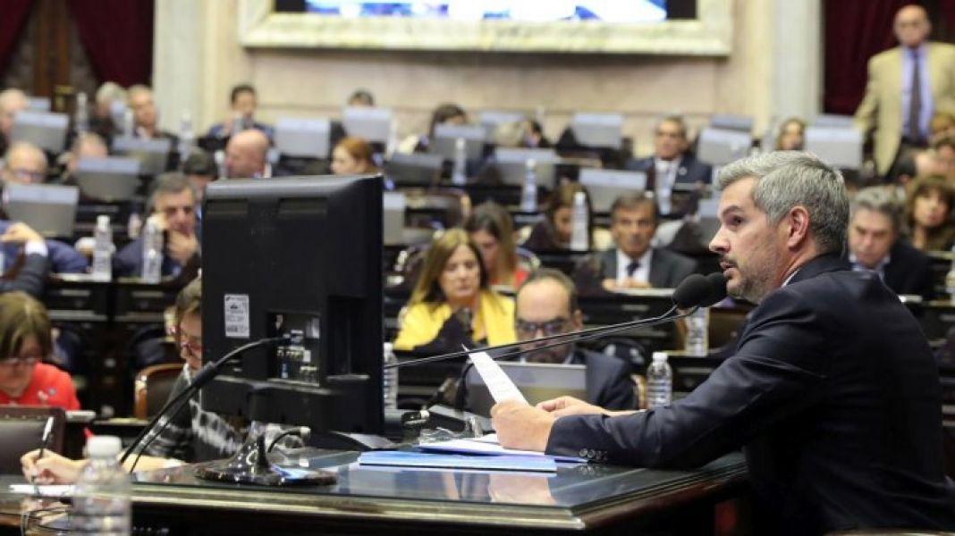 El jefe de Gabinete Marcos Peña durante su informe tuvo duros cruces verbal a los gritos con la bancada kirchnerista en la Cámara baja.