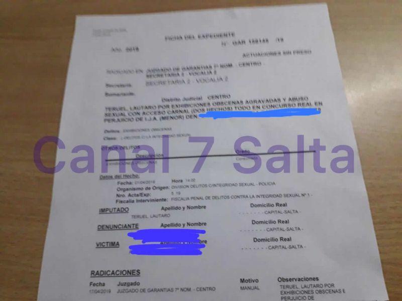 La denuncia a la que tuvo acceso Canal 7 Salta. A solicitud del fiscal Obeid, Teruel permanece detenido con prisión preventiva.