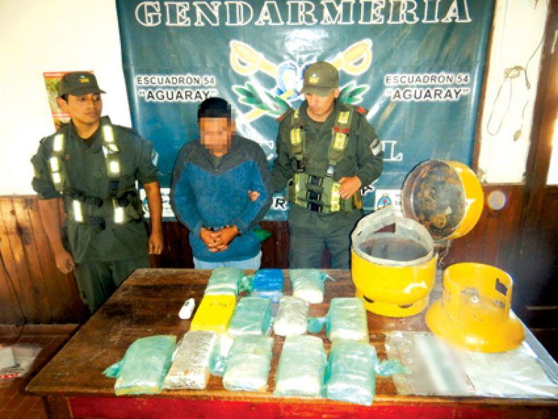 El secuestro de cocaína se realizó durante un control de Gendarmería en Aguaray.
