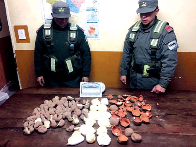 Dentro de una bolsa había papas reales y otras similares pero de cerámica rellenas con cocaína.