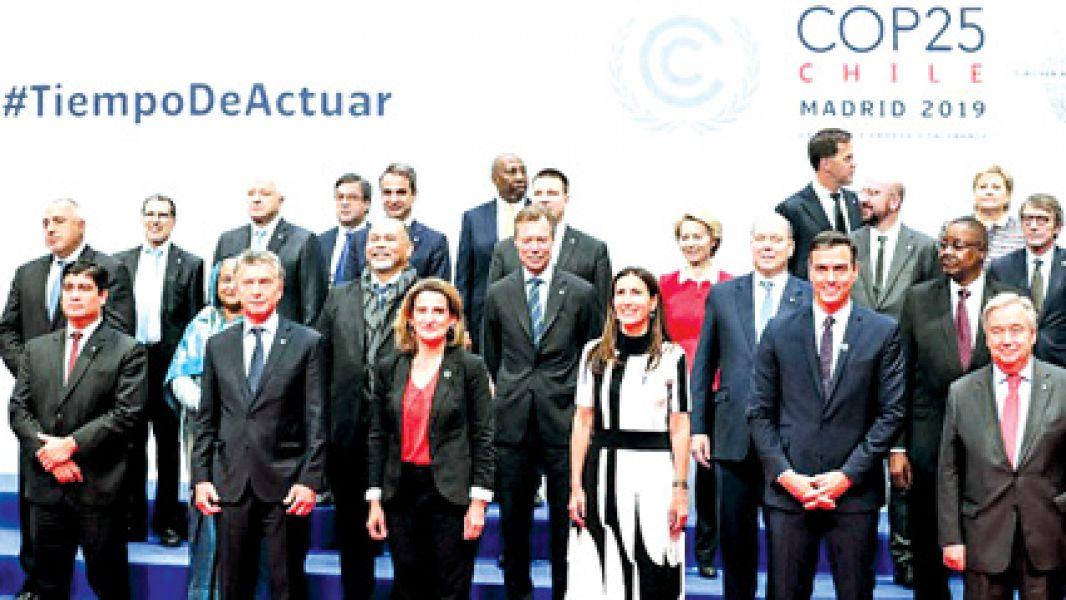 Después de la inauguración de la XXV Conferencia de Naciones Unidas sobre el Cambio Climático en España, Macri pronunció un breve mensaje.