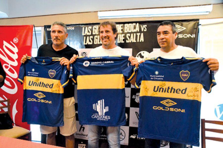 """Diego Cagna, la """"Tota"""" Fabbri y José """"Pepe"""" Basualdo durante la conferencia de ayer.  Foto: Gentileza Sport Salta."""