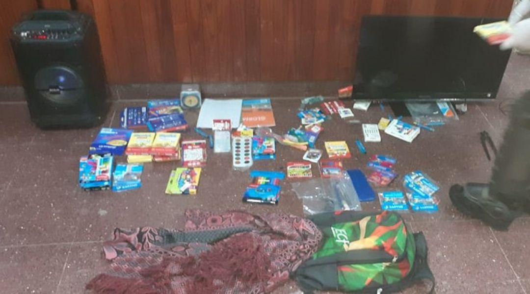 El joven de 19 años circulaba con elementos robados que pertenecen a la Escuela Joaquín Castellanos.