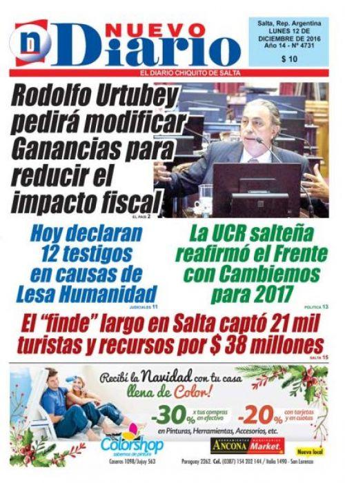 Tapa del 12/12/2016 Nuevo Diario de Salta