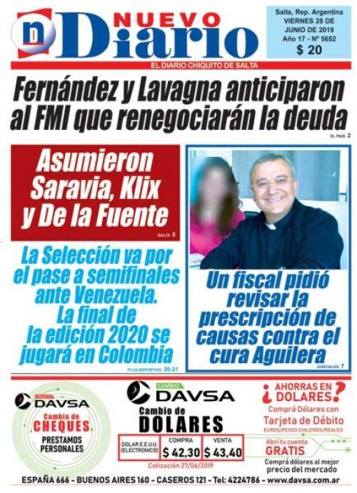 Tapa del 28/06/2019 Nuevo Diario de Salta