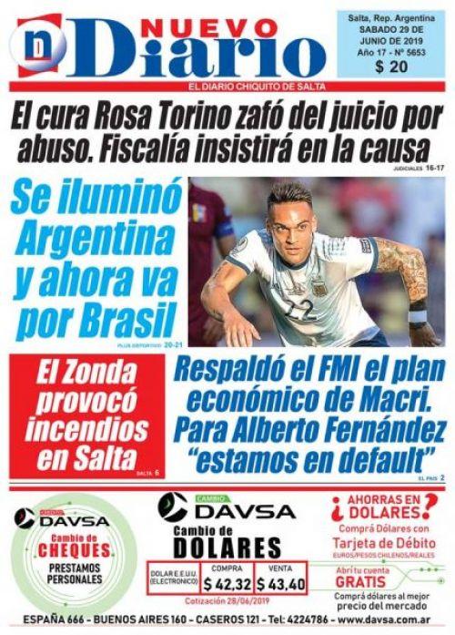 Tapa del 29/06/2019 Nuevo Diario de Salta