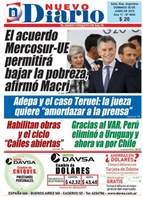 Tapa del 30/06/2019 Nuevo Diario de Salta