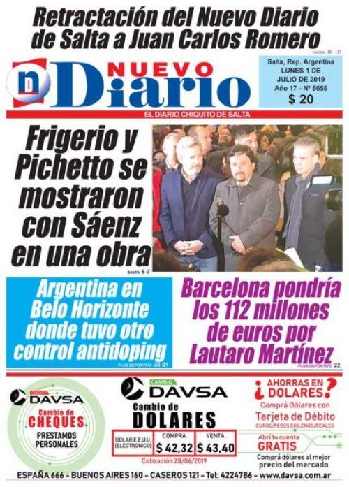 Tapa del 01/07/2019 Nuevo Diario de Salta