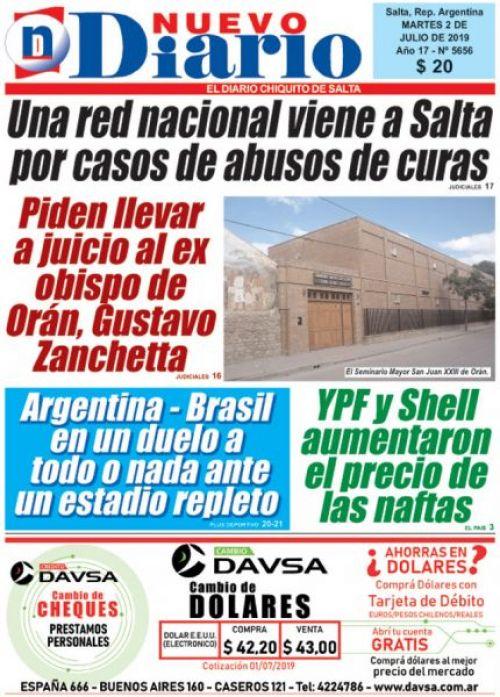 Tapa del 02/07/2019 Nuevo Diario de Salta