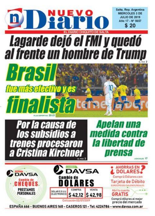 Tapa del 03/07/2019 Nuevo Diario de Salta