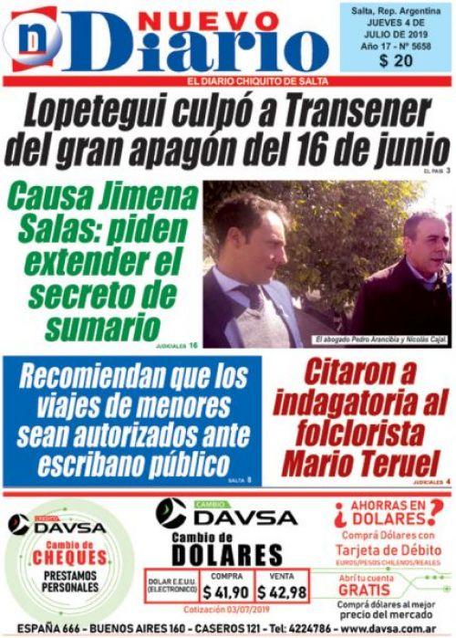 Tapa del 04/07/2019 Nuevo Diario de Salta