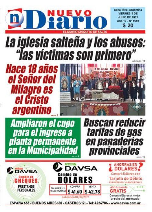 Tapa del 05/07/2019 Nuevo Diario de Salta
