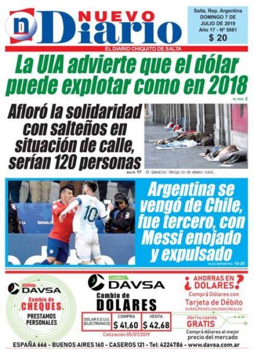 Tapa del 07/07/2019 Nuevo Diario de Salta