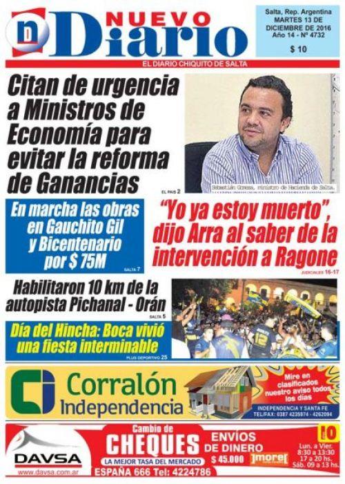 Tapa del 13/12/2016 Nuevo Diario de Salta