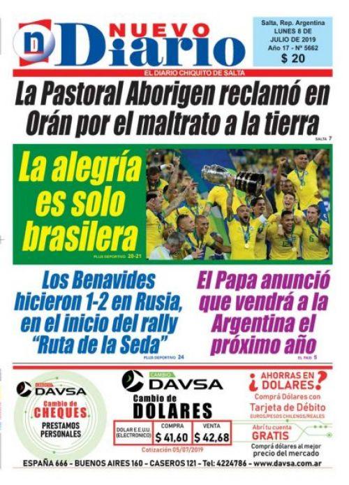 Tapa del 08/07/2019 Nuevo Diario de Salta
