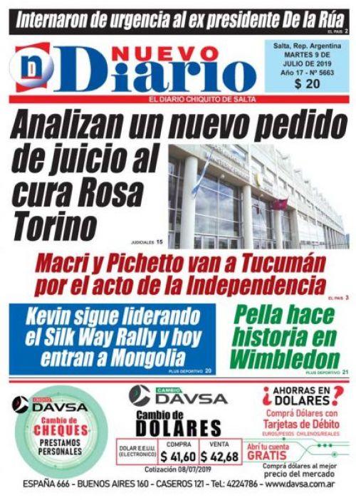 Tapa del 09/07/2019 Nuevo Diario de Salta