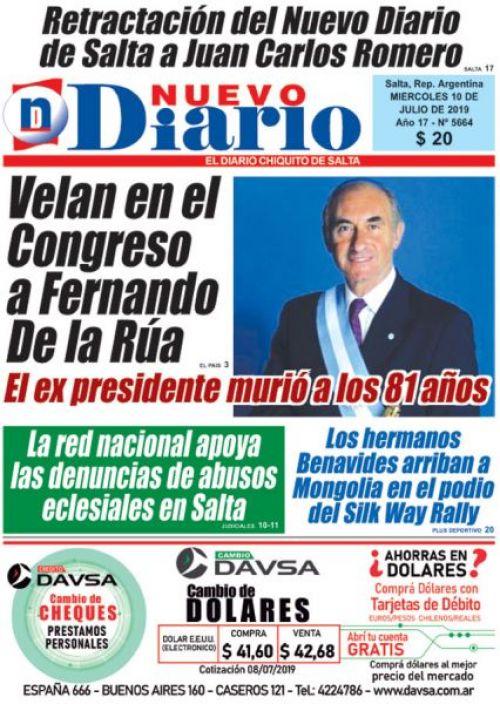 Tapa del 10/07/2019 Nuevo Diario de Salta