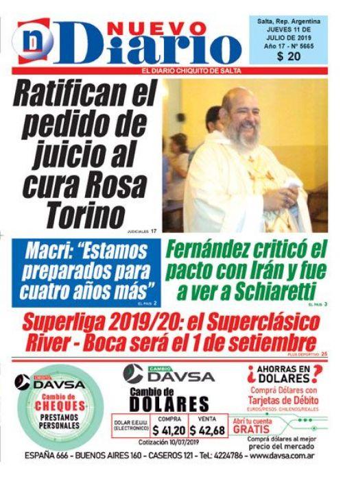 Tapa del 11/07/2019 Nuevo Diario de Salta