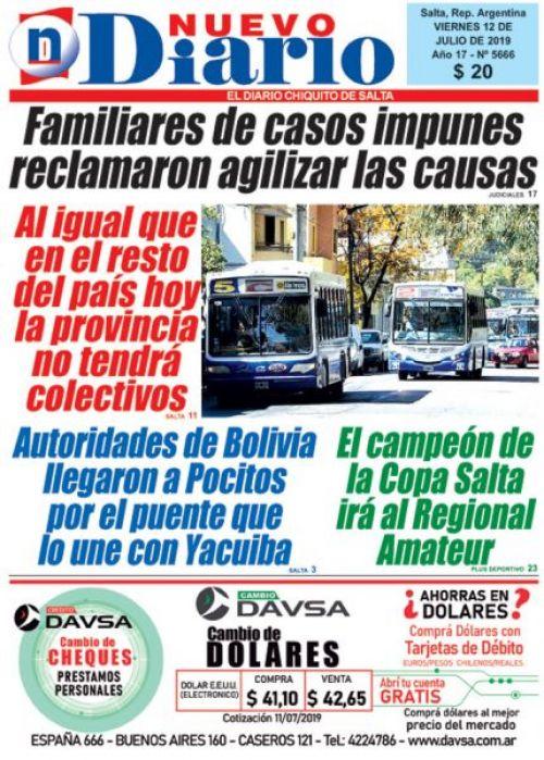 Tapa del 12/07/2019 Nuevo Diario de Salta