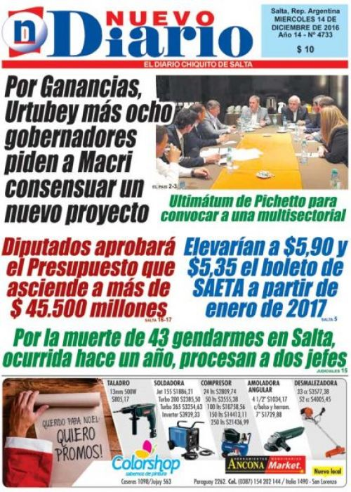 Tapa del 14/12/2016 Nuevo Diario de Salta
