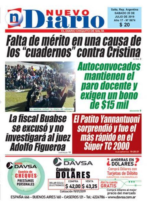 Tapa del 20/07/2019 Nuevo Diario de Salta