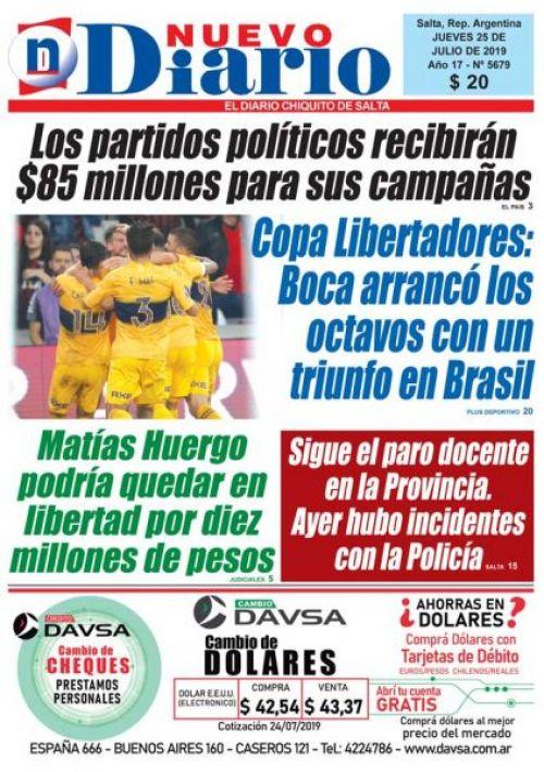 Tapa del 25/07/2019 Nuevo Diario de Salta