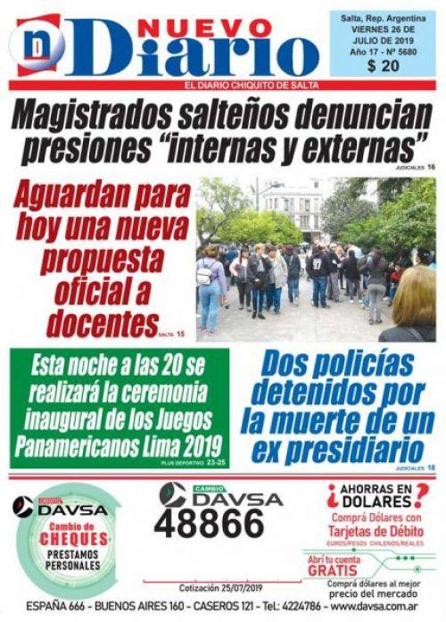 Tapa del 26/07/2019 Nuevo Diario de Salta