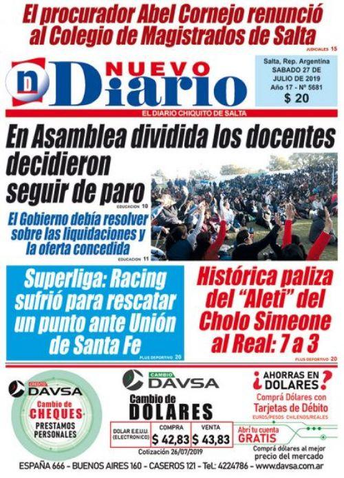 Tapa del 27/07/2019 Nuevo Diario de Salta