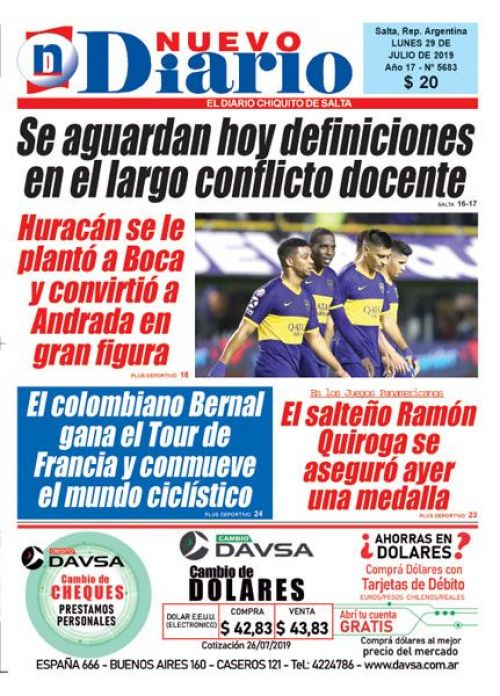Tapa del 29/07/2019 Nuevo Diario de Salta
