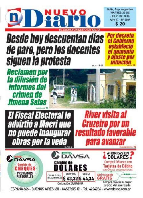 Tapa del 30/07/2019 Nuevo Diario de Salta