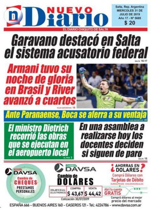 Tapa del 31/07/2019 Nuevo Diario de Salta