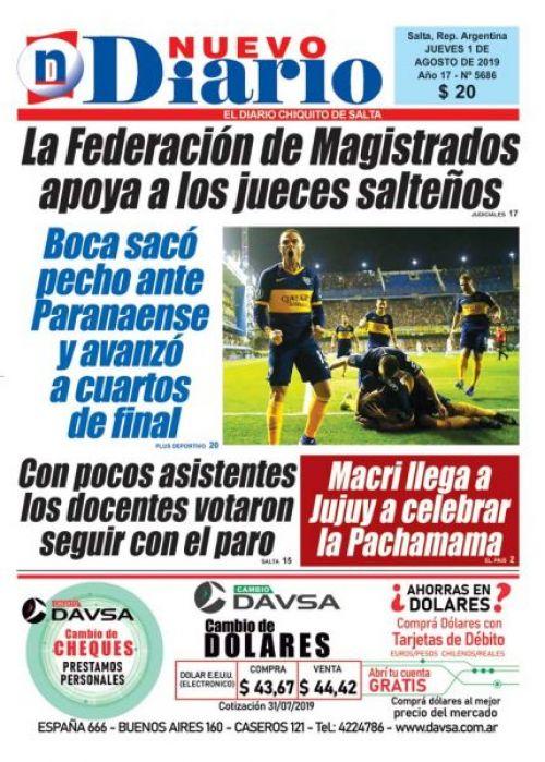 Tapa del 01/08/2019 Nuevo Diario de Salta